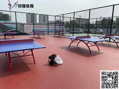 泰安某社区活动中心的乒乓球桌
